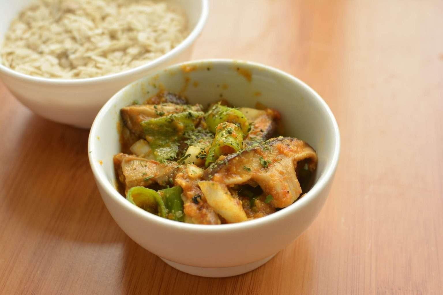 mushroom choila serve with beaten rice